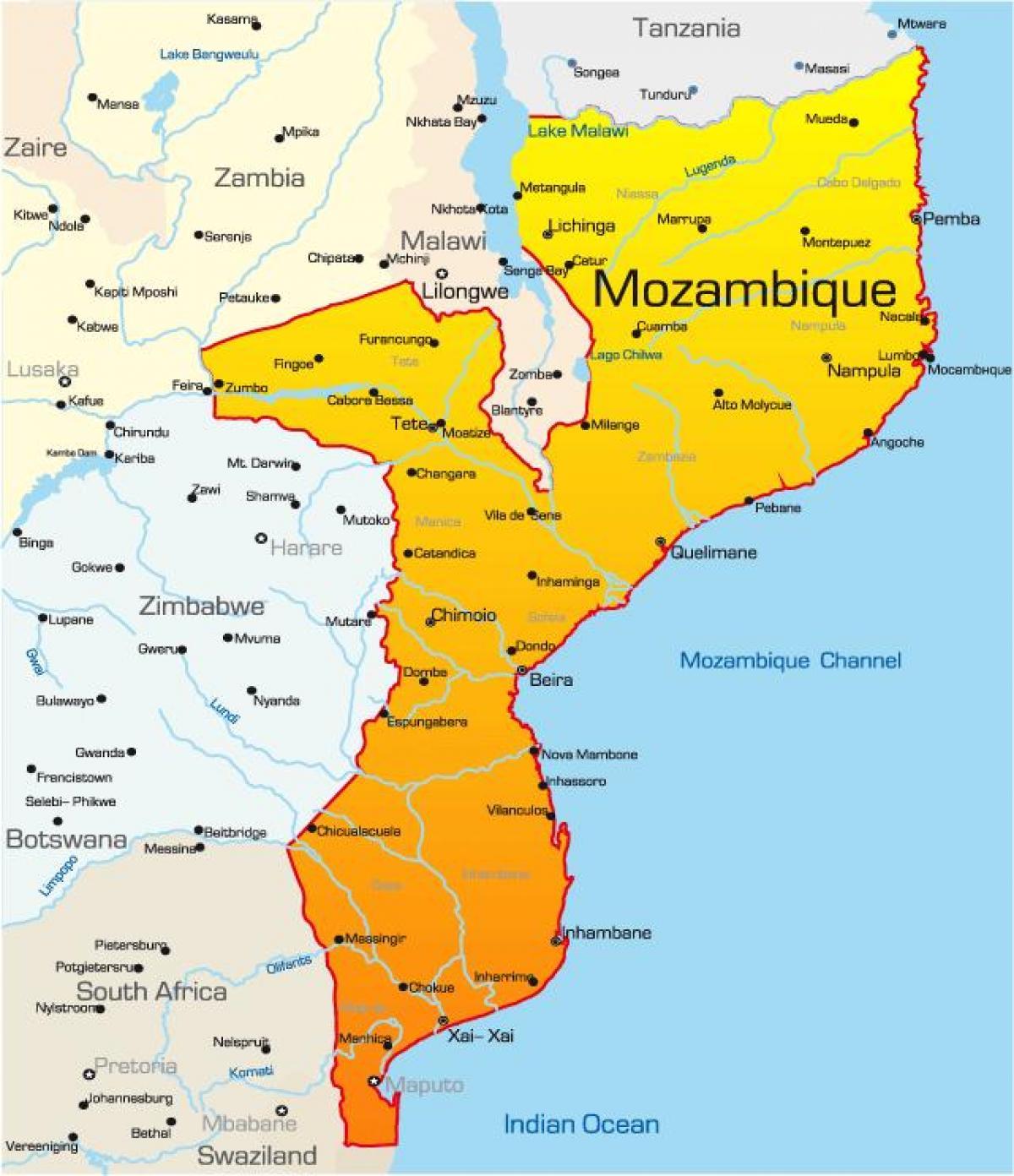 Mosambik Karte.Mosambik Karte Die Karte Von Mosambik Ostafrika Afrika